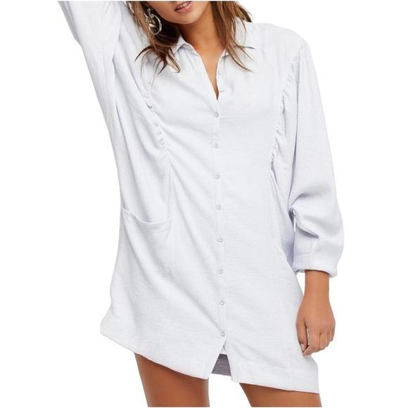 Free People Shirt Dress Ruched Purple White XS